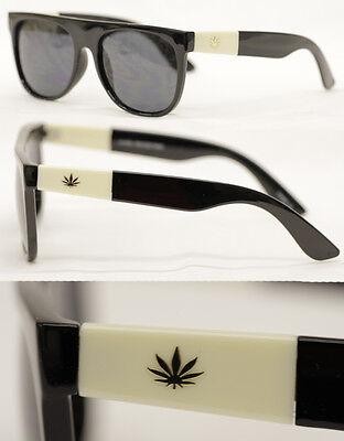 Bescheiden Flattop Sonnenbrille Kult Brille Schwarz Weed Marijuana Hanf Retro Selten 591