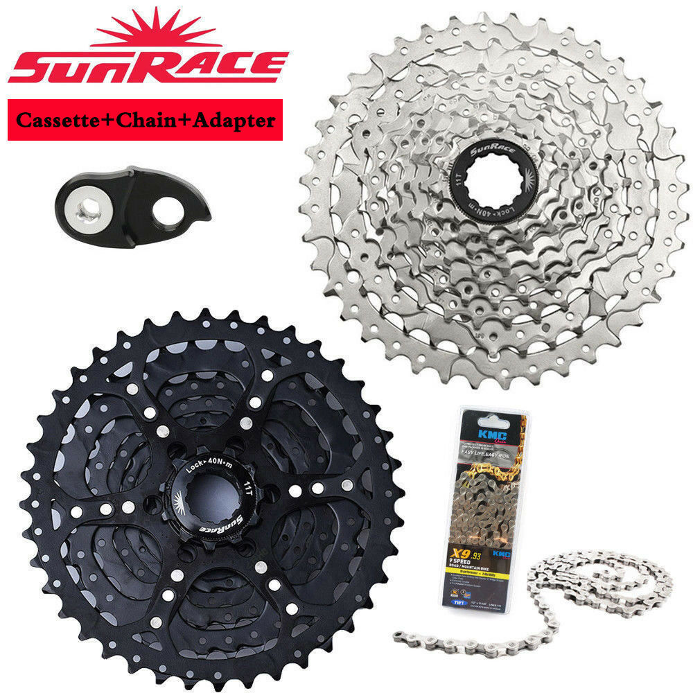SunRace 9Speed 11-40T MTB Bike Cassette Bicycle Chain Freewheel fit Shimano SRAM