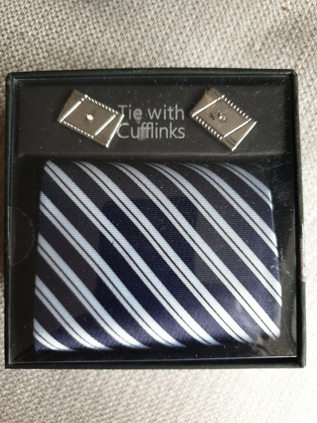 Azul a Rayas Corbata & Gemelos Conjunto de regalo o gastos de envío más barato sin Caja