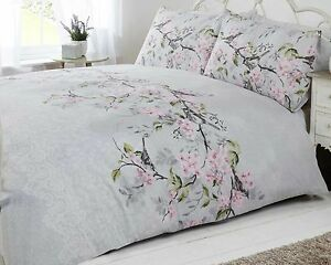 Bird Blossom Floral Duvet Quilt Cover Bedding Set Grey
