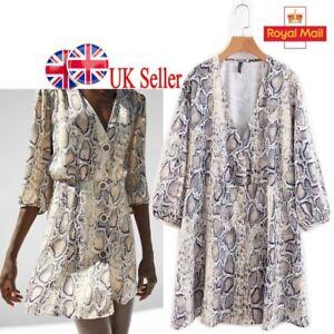 UK-Womens-Snake-Print-Button-Dress-Relaxed-Shirt-Blouse-Girls-Kimono-Tops-Smock