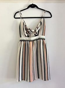 Topshop-Pink-And-Ivory-Striped-Summer-Dress-UK-Size-8-Immaculate
