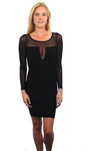 New-Bebe-Womens-Long-Sleeve-Sheer-Plunging-Neck-Bodycon-Short-Dress-Black-79
