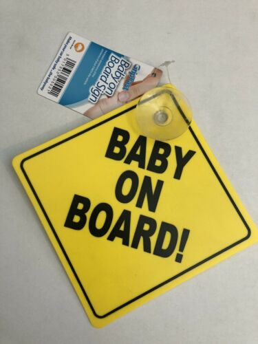 2 X BABY ON BOARD SIGNS WITH SUCTION CAPS BRIGHT YELLOW VERY STRONG PLASTIC