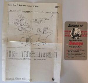Details about Vintage Original Savage Arms Corp  Model 95 Gun Hang Tag &  Parts Sheet