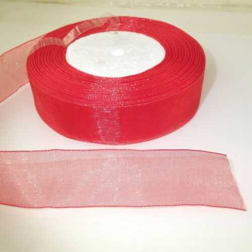 "25mm 1/"" rouge tissé edge sheer organza ribbon 3M 5M 10M craft sewing"