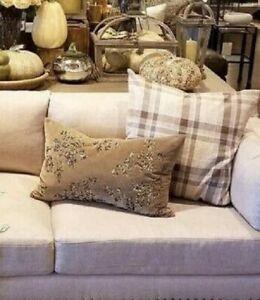 Pottery-Barn-Augustine-Velvet-Lumbar-Pillow-Cover-Brown-16x26-Embellished-New
