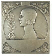 Art Deco WOMAN WITH A BRANCH by Baudichon embossed silvered-bronze 47mm x 51mm