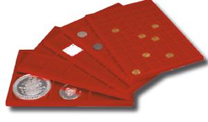 Vassoio-per-Monete-Master-Phil-Grande-in-floccato-rosso-collezionismo-Coins-amp-More