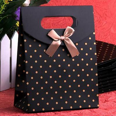 """10 Dots Bow Black Paper Carrier Gift Present Package Bags Party 6.5x4.9"""""""
