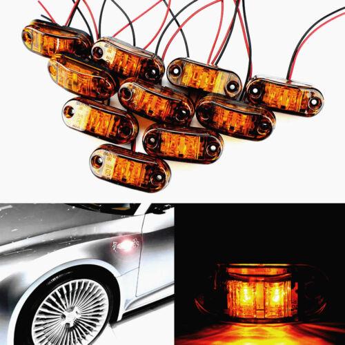 10pc Amber LED Truck Trailer Side Marker Clearance Light Oval Chrome Base 12V