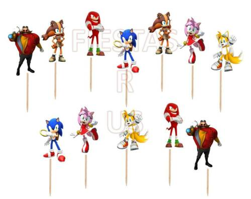 Made of Cardstock Paper Birthday Party Sonic Cupcake Toppers 12 or 24 pc