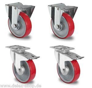 4 x Transportrolle Anschraubloch 100mm Gummi mit Stop Lenk//FS