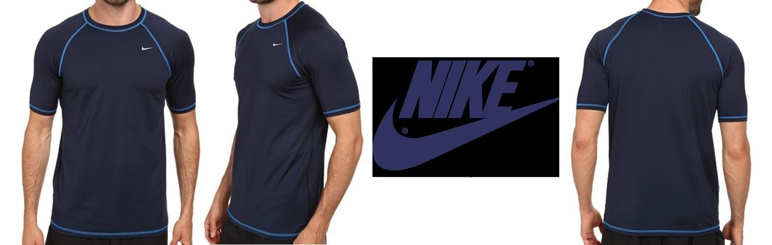 NIKE Men's XL HYDRO SHORT SLEEVE TOP Navy blueee Obsidian UPF 40+ Sport Shirt, NWT