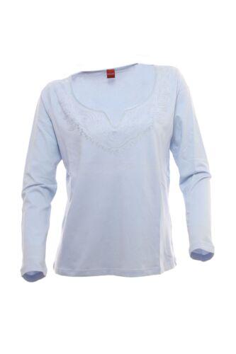 olsen Longsleeve Damen Langarmshirt Shirt  Baumwolle Stretch Hellblau 42 44 46