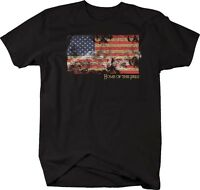 Tshirt -home Of The Free Tattered Vintage American Flag
