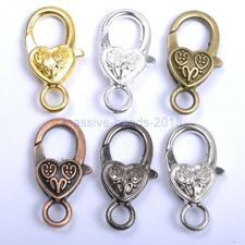5pcs Gold Silver Plated Bronze Copper /& Twill /& Charms Heart Lobster Clasps