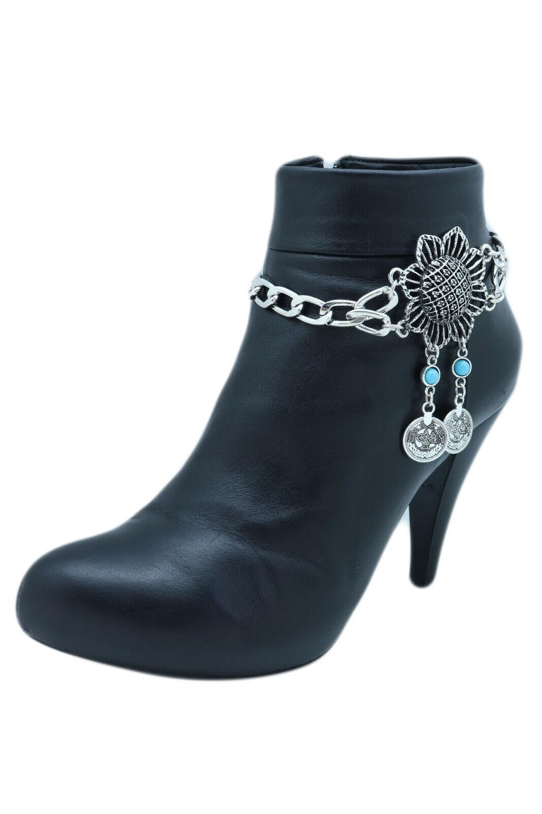 Women Silver Metal Chain Boot Bracelet Shoe Sun Flower Ethnic Coin Charm Vintage