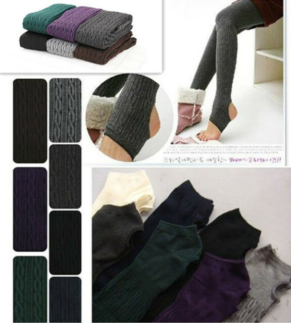 Winter Warm Cotton Knit Thick Stretchy Twisted Pantyhose Stirrup Tights Pants