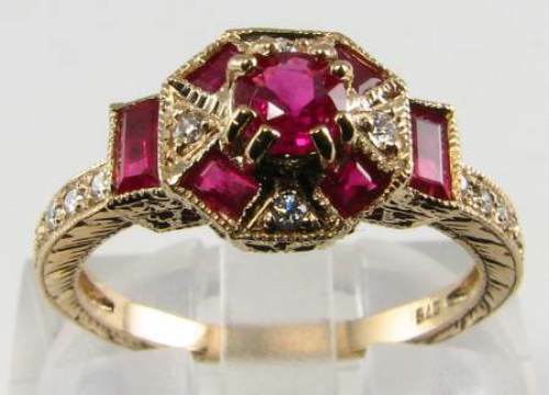 CLASS 9CT 9K gold ART DECO INS INDIAN RUBY & DIAMOND RING FREE SIZE