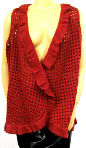 NUOVO Donna Finemente Lavorato a Maglia Long gilet rosso ruggine marrone smanicato traforo 52//54 56//58