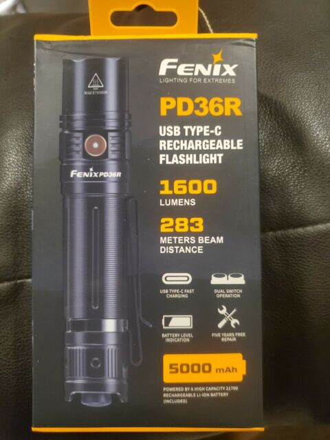 Fenix PD36R 1600 Lumens USB Type-C Rechargeable Tactical Flashlight with Battery