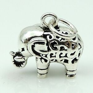 DIY Jewelry Making Vintage Tibetan Elephant Pendant Genuine Sterling Silver 128