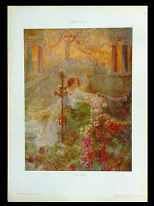 WOMAN-AND-ROSES-1910-ART-NOUVEAU-PHOTOLITHOGRAPH-CARLO-AGAZZI