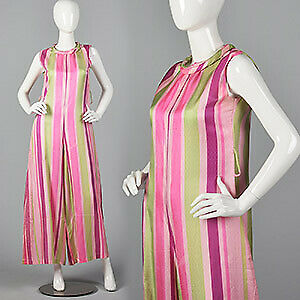 M 1960s Sleeveless Pink Stripe Jumpsuit Wide Leg Casual Spring Summer 60s VTG