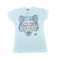 Animal Planet Aztec Wolf Distressed Graphic Women Ladies White Tshirt Tee