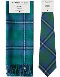 100% Wahr Irvine Ancient Tartan Lambswool Scarf & Tie Gift Set Neueste Technik