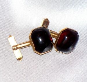 Vintage Elegant 5/8 x 1/2 Swank Gold Tone Dark Ruby Red Cuff Links Cufflinks