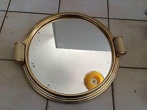 ancien plateau miroir art deco rond des ann es 50 39 s 60 39 s. Black Bedroom Furniture Sets. Home Design Ideas