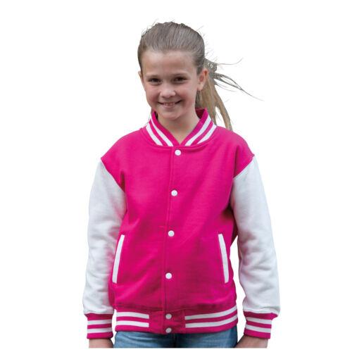 AWDIS JH43J Varsity Children Baseball Jacket 16 Colours available Sizes 3-13Year