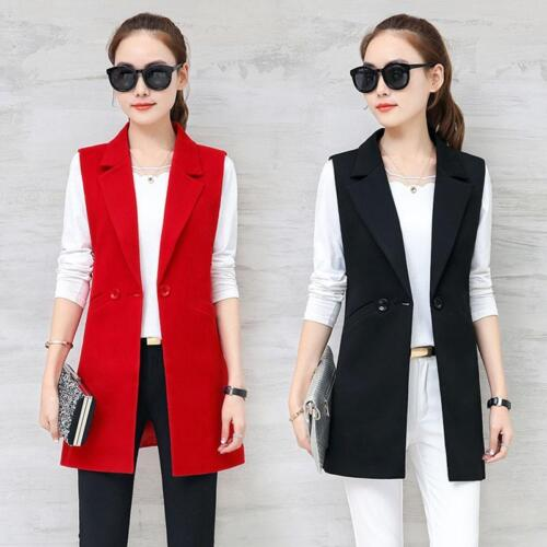 Womens Sleeveless Lapel Vest Slim Suit Coat Plus Size Formal Casual Blazer Coat by Unbranded