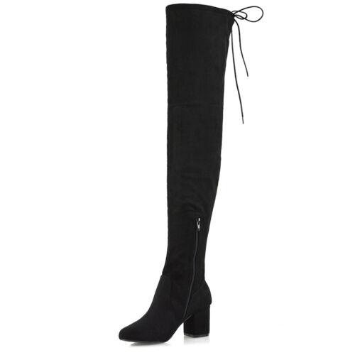 3 sur dames pour chaussures des de long mi genou Bottes femmes lacent cuisse talon 8 le qw6FpI