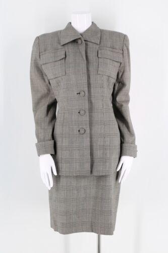 80s 90s OMO Norma Kamali black & white check suit