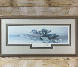 Sherrie-Russell-Meline-Print-Wood-Duck-Idaho-Ducks-Unlimited-2003-Framed