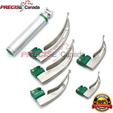 Fiber Optic Mac Laryngoscope 5 Blades Amp Handle Set Led Light White Set Of 6