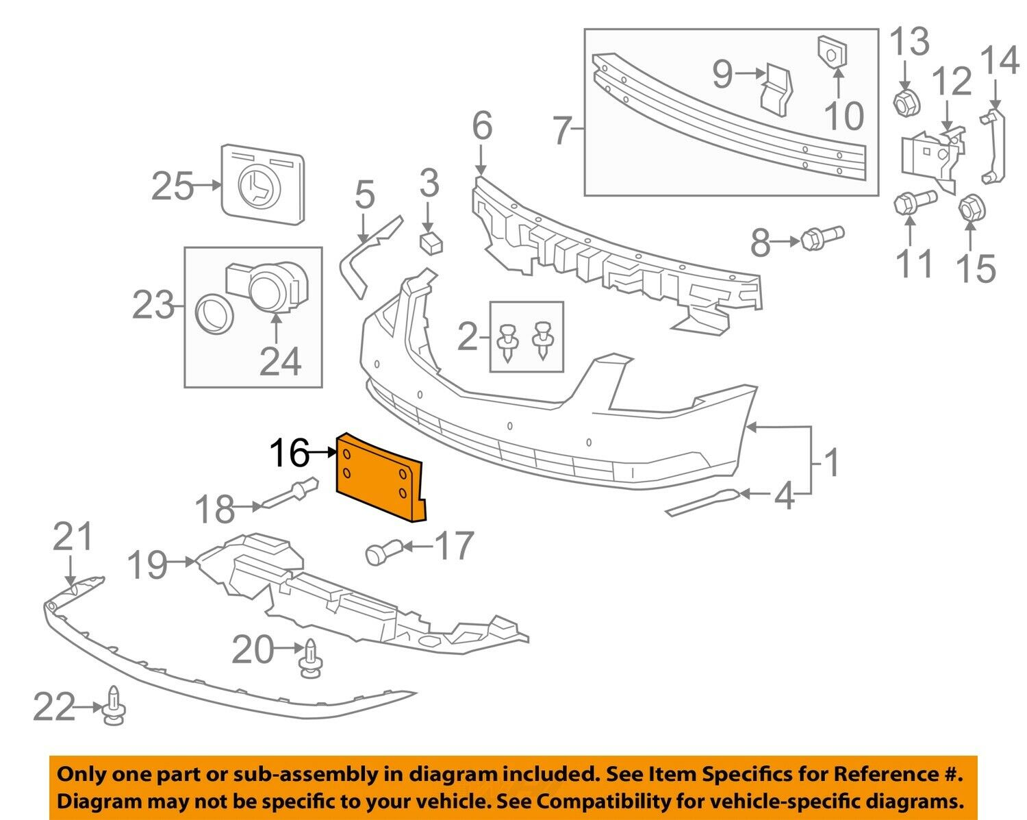 2006-2011 CADILLAC DTS FRONT LICENSE PLATE HOLDER BRACKET MOUNT NEW GM  15933051