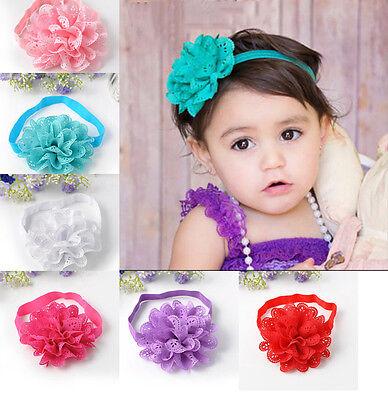 6Pcs Lovely Colorful Flower Hair Band Baby Kids Girls Elastic Headband Headwear