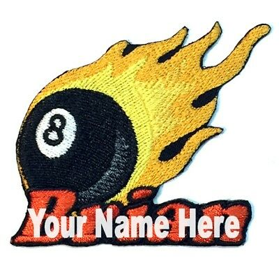 8 Ball Custom Iron-on Patch With Name Personalized Free Billiards Pool