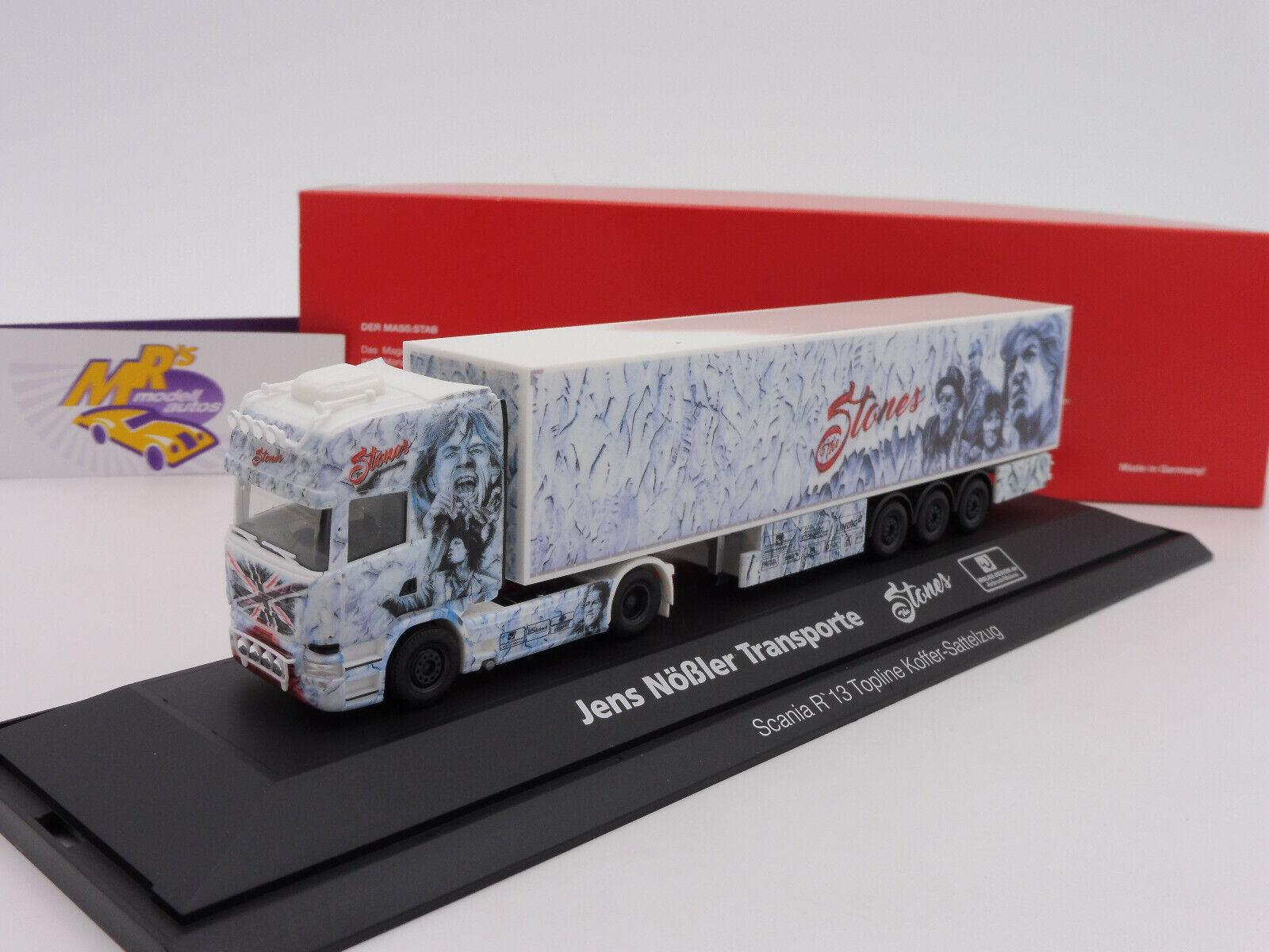 Herpa 121958   Scania R TL valise-Semi-remorque  THE STONES-J. nößler  1 87 NEUF