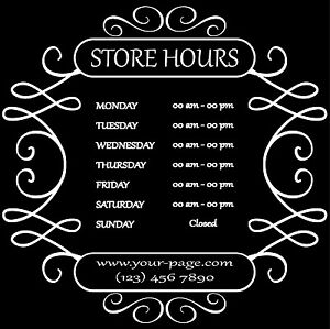 Custom Business Store Hours Sign Vinyl Decal Sticker X Door - Custom vinyl decal stickers for business