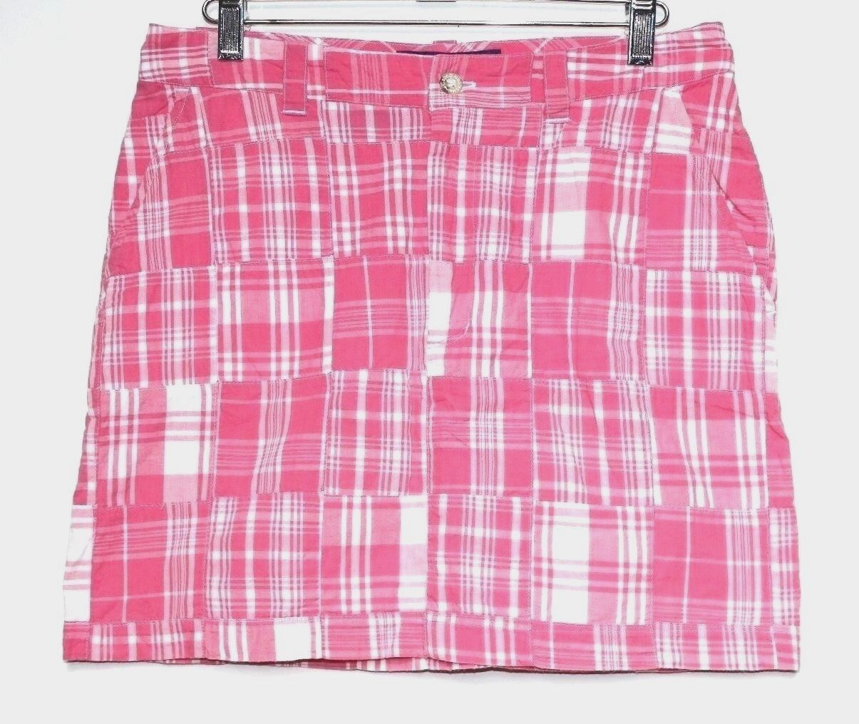 Cape Madras - 4 (S) - Pink & White Plaid Madras Patchwork Pencil Mini Skirt