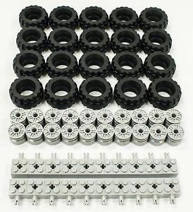NEW-Lego-37-X-18-Tire-Wheel-and-Brick-Axles-Bulk-Lot-60-Pieces-Total