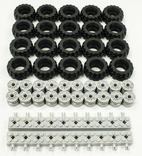 60 Pieces Total Wheel and Brick Axles Bulk Lot ☀️NEW Lego 37 X 18 Tire