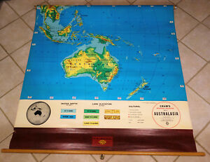 Cram S Physical Political Pull Down Map Of Australasia Australia