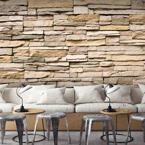 Details zu VLIES FOTOTAPETE Sandstein Steinwand beige TAPETE WANDBILDER XXL  Wohnzimmer 128