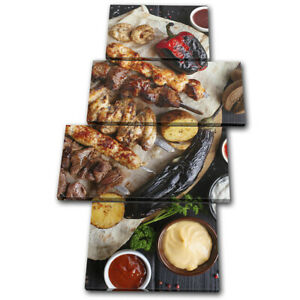 Chicken-Meat-BBQ-Barbecue-Food-Kitchen-MULTI-CANVAS-WALL-ART-Picture-Print
